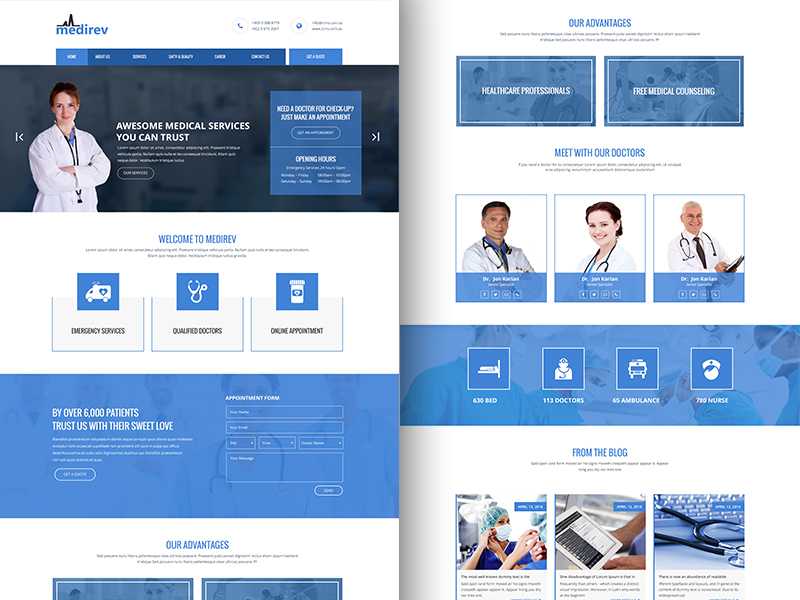 Medirev Medical bootstrap template free download preview picture