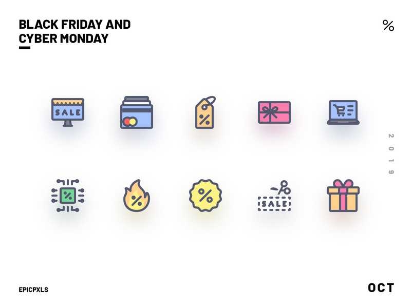 Black Friday and Cyber Monday Icons
