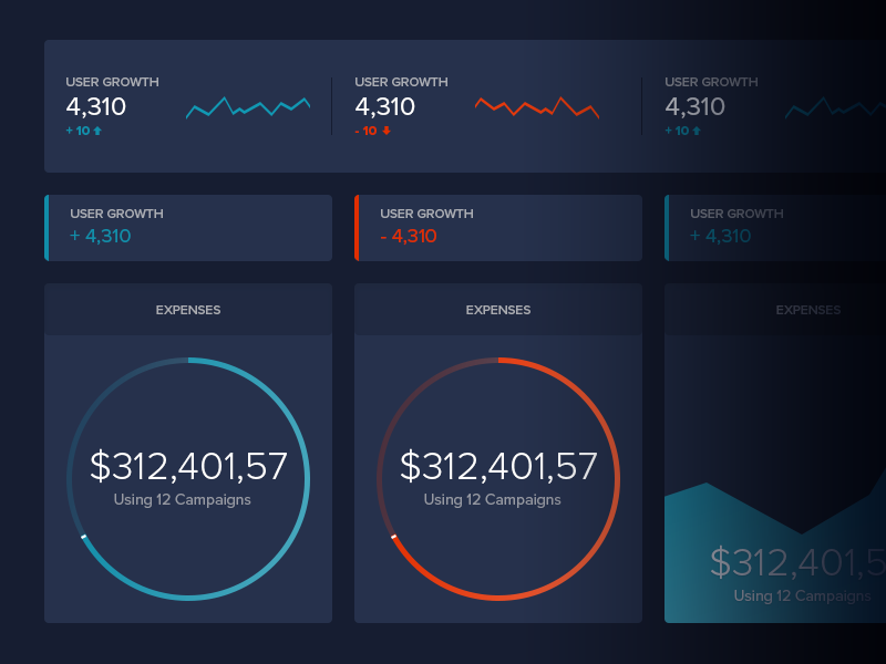 Dark Dashboard UI Freebie preview picture