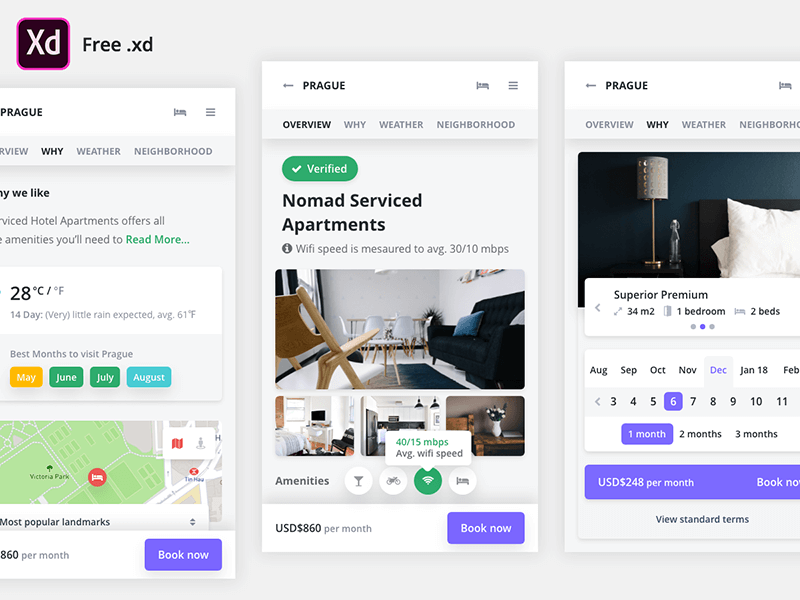 Mobile Booking Xd UI Kit