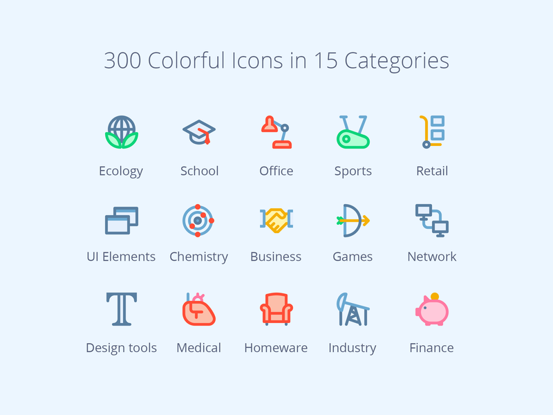 300 Colorful Icons