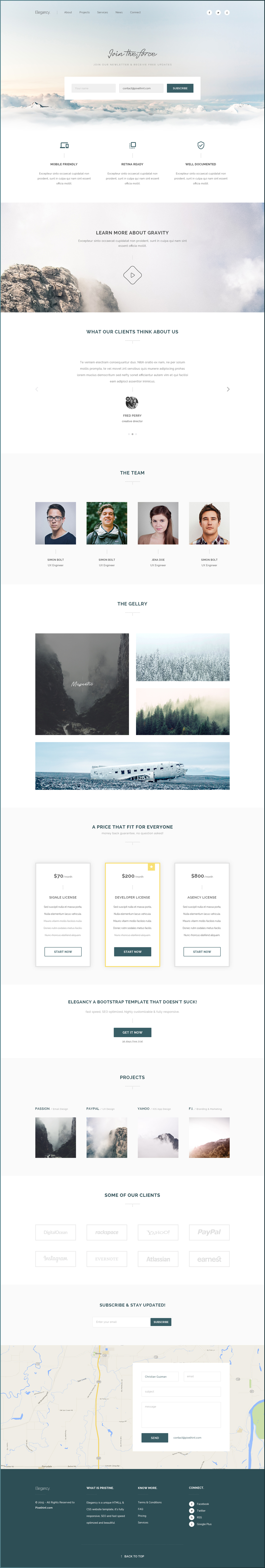 Elegancy: Single Page Template [PSD]