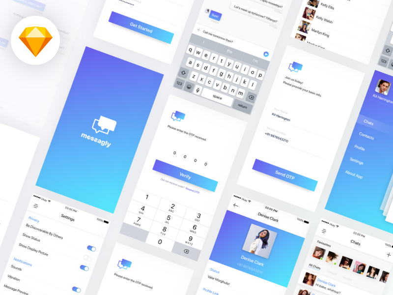 Messagly Freebie UI Kit preview picture