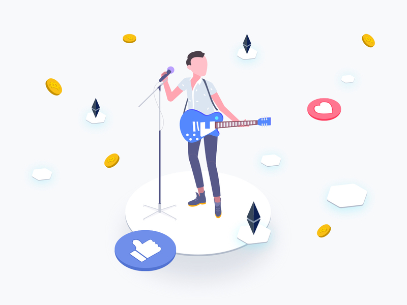 Idol with Blockchain Platform Isometric Graphic preview picture