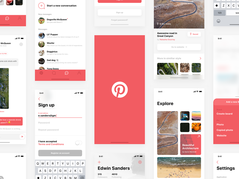 Pinterest — iPhone X redesign Sketch Freebie preview picture