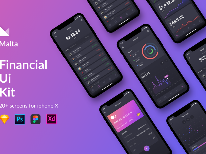 Malta Financial IOS app UI Kit preview picture