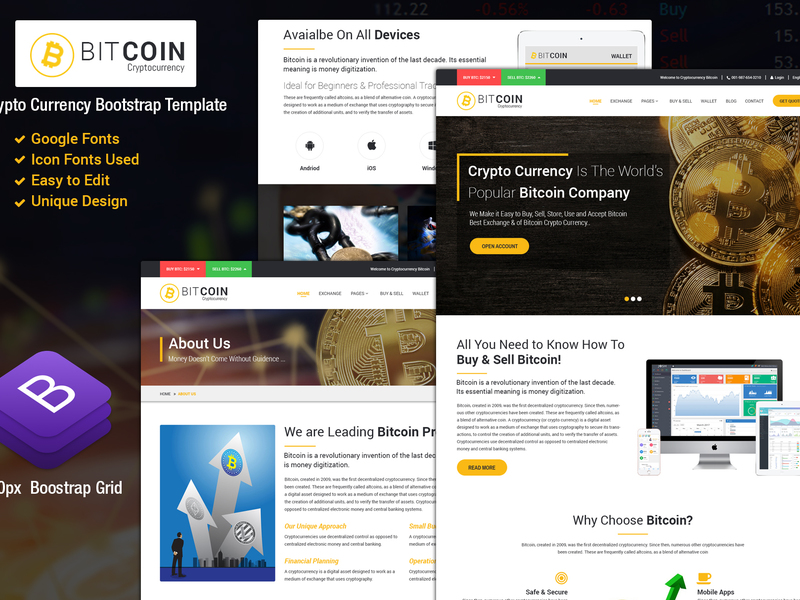BitCoin-Responsive Website Template preview picture