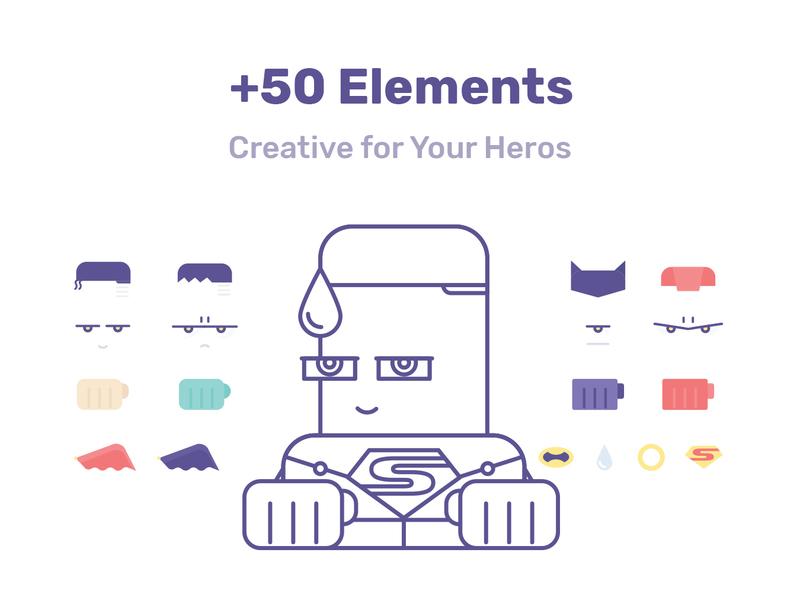 Hero Character Creator Design Vector