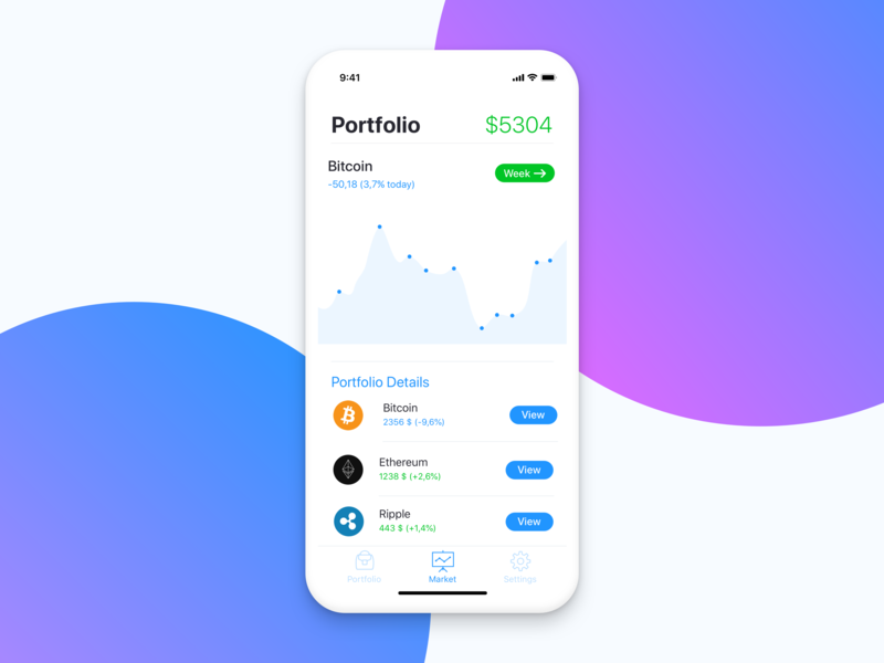 Portfolio Screen for Cryptocurrency app