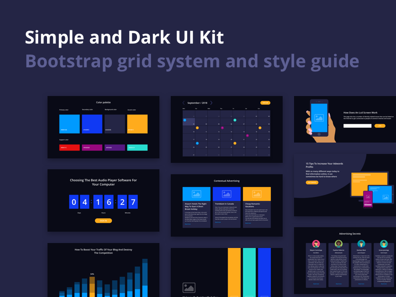Simple and Dark UI Kit preview picture