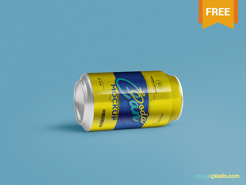 Free Soft Drink Can Mockup PSD preview picture