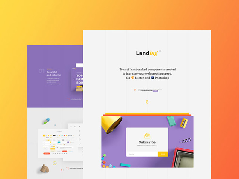 Landing: Free UI kit preview picture