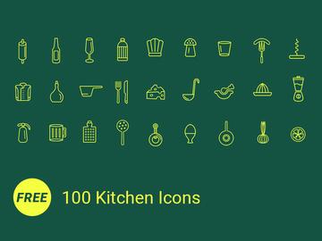 100 Free Icons / Kitchen [AI]