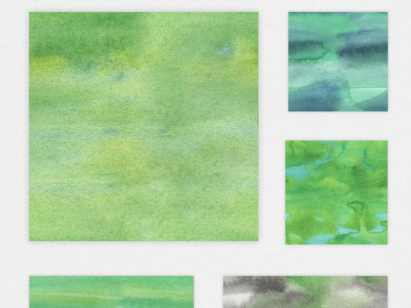 Watercolor Seamless Textures - Green Pack