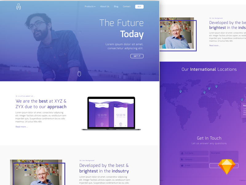 Lander - Landing page [Sketch] preview picture