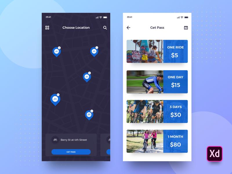 BikePlus App XD Freebie