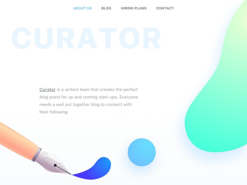 Curator Landing Page UI