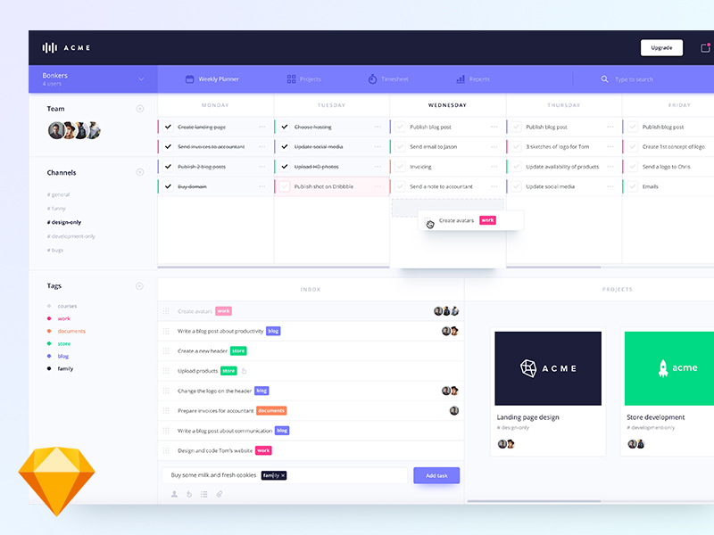 Weekly planner dashboard [Sketch] preview picture
