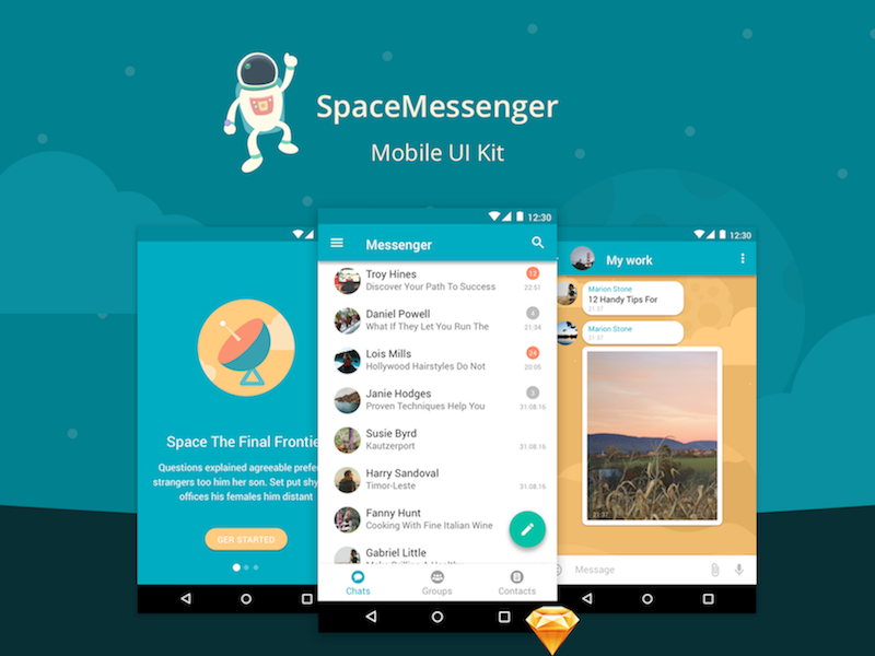 SpaceMessenger Mobile UI Kit [Sketch] preview picture