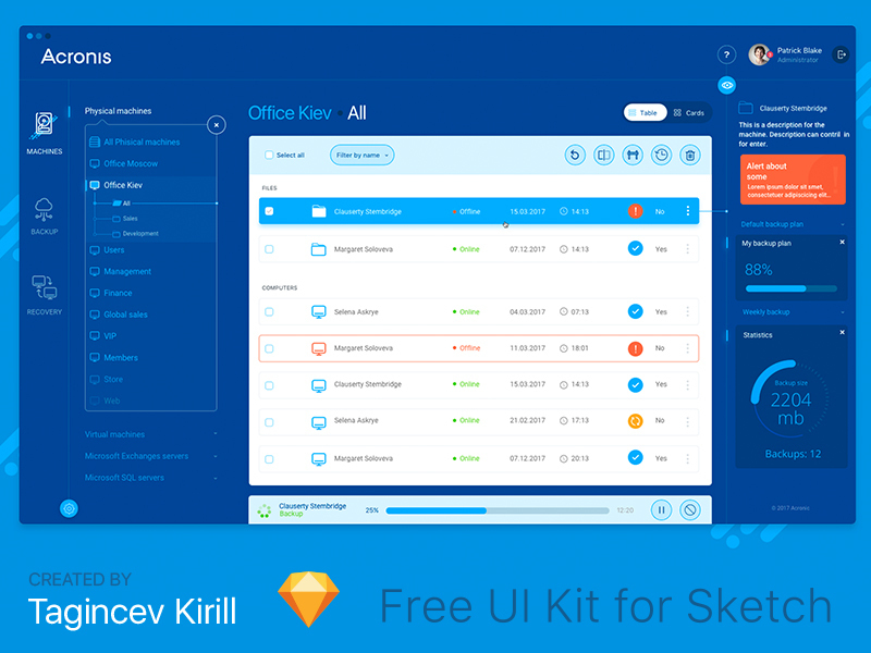 Acronis UI / UX preview picture