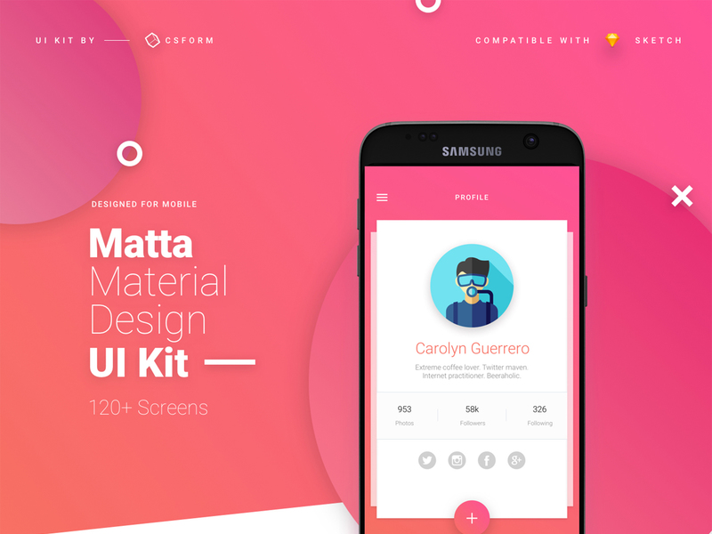 Matta Material Design Mobile UI Kit for Sketch preview picture