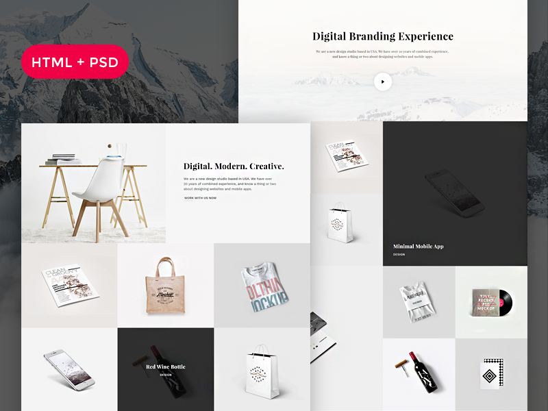 Snow - Free HTML + PSD Portfolio preview picture