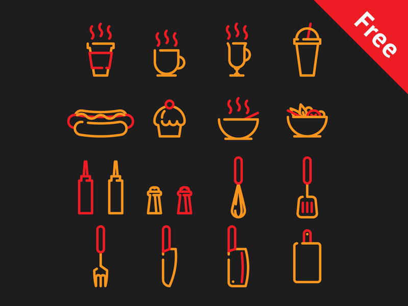 Cafe and street food icons preview picture