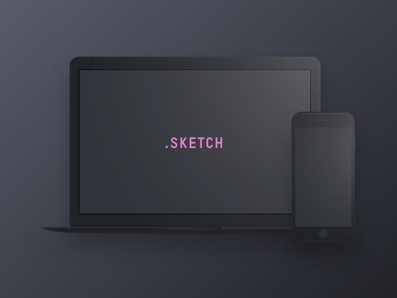 Dark Devices - Free Sketch Mockup