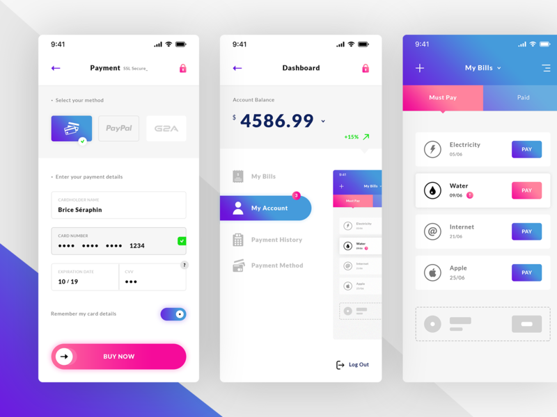 Payment Method, Dashboard & Bills. IOS App - UI Kit