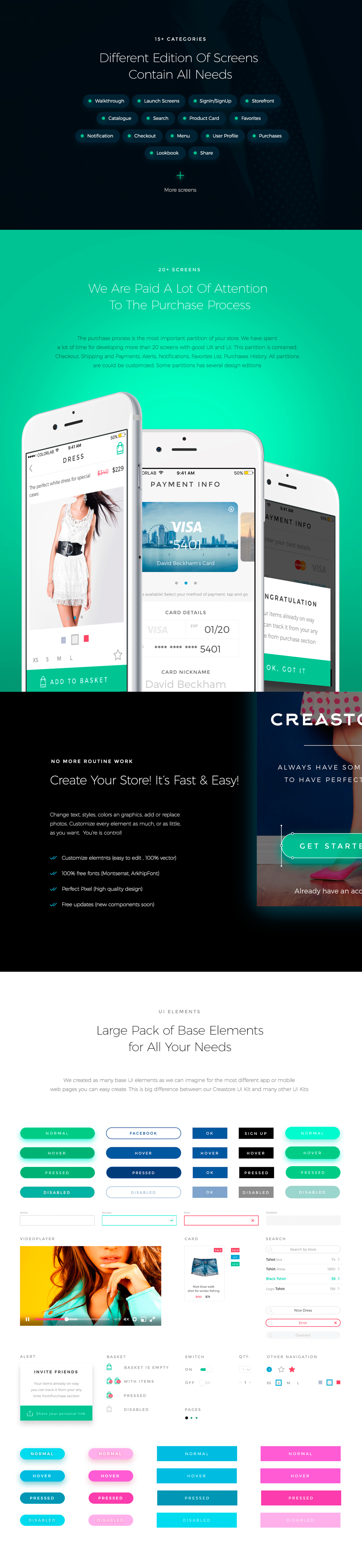 Creastore UI Kit [Sketch]