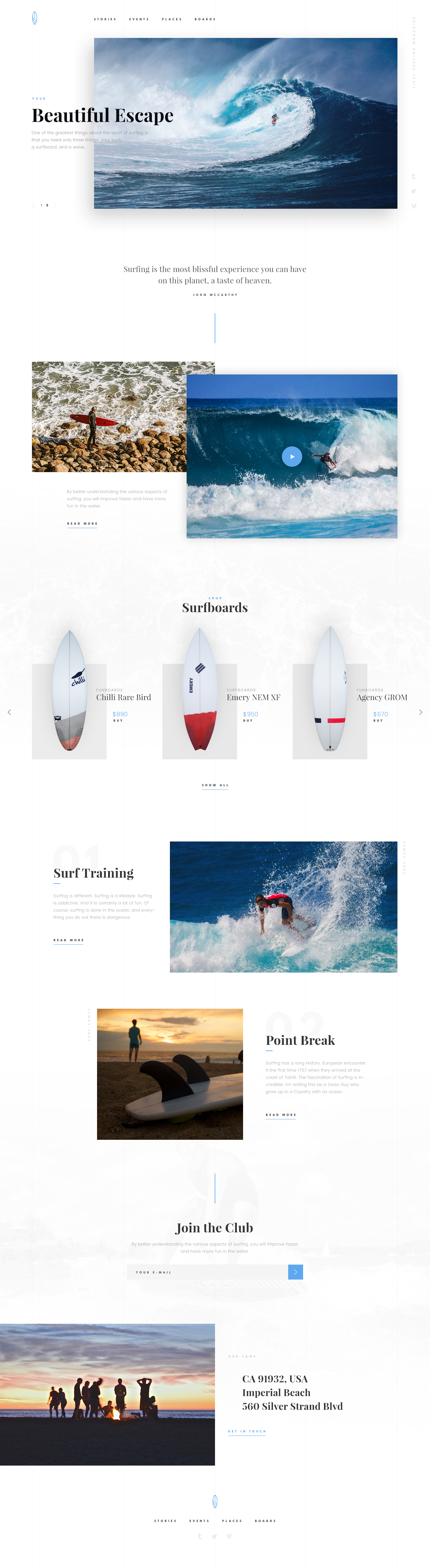 Surfing Free Theme PSD