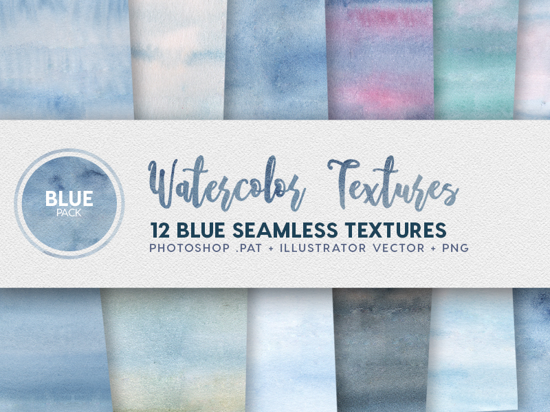 Watercolor Seamless Textures - Blue Pack preview picture
