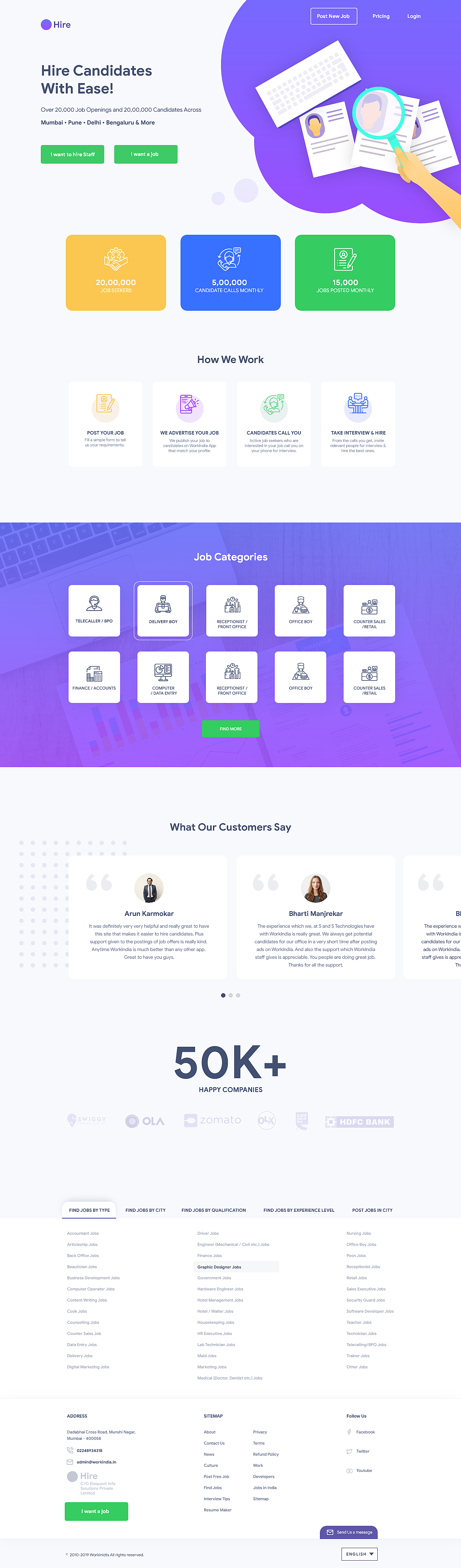 Hire Job Portal Landing Page Freebie