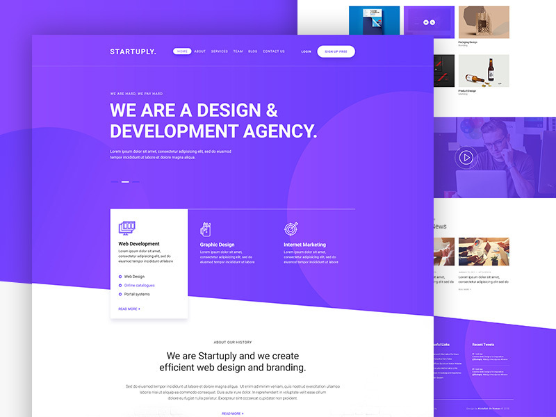 Startuply Agency landing page
