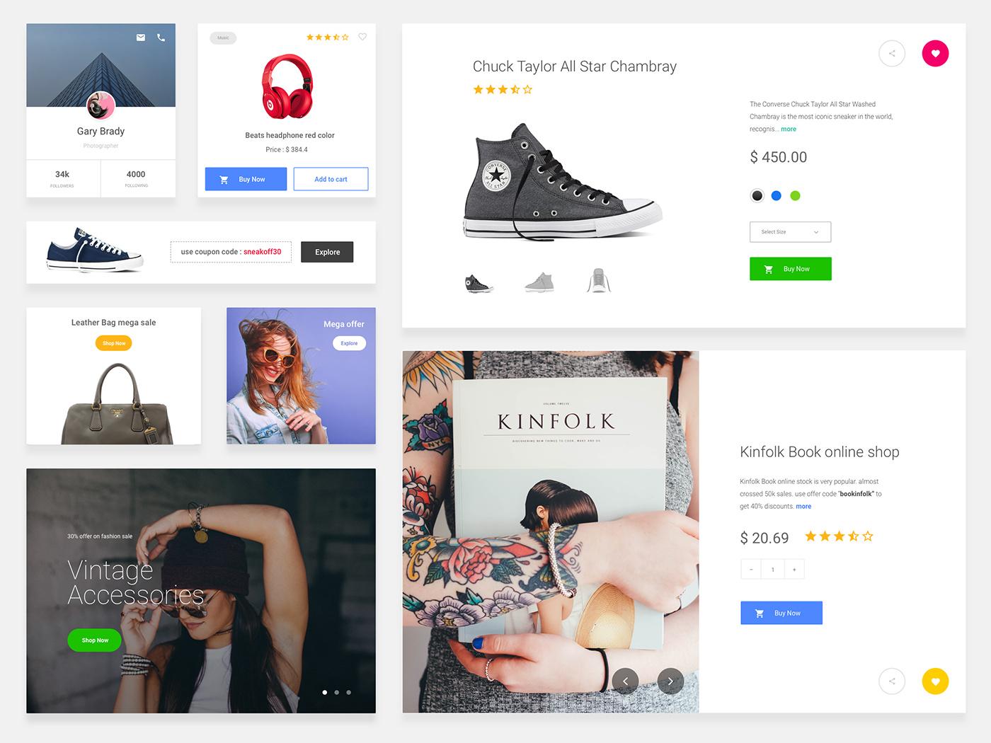 eCommerce Cards Free Sketch UI Kit