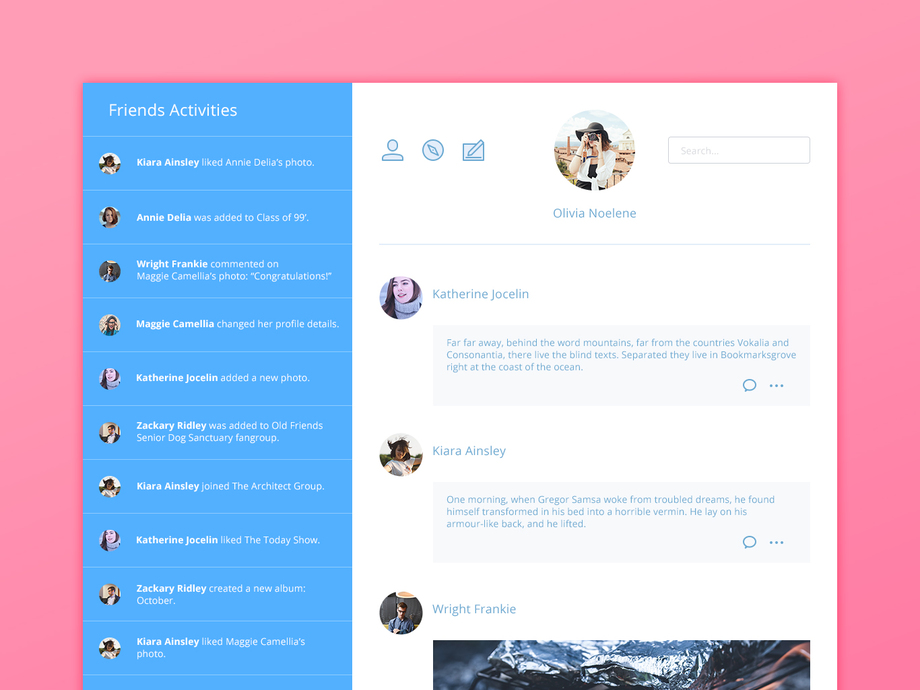 Social Media Activity Feed UI