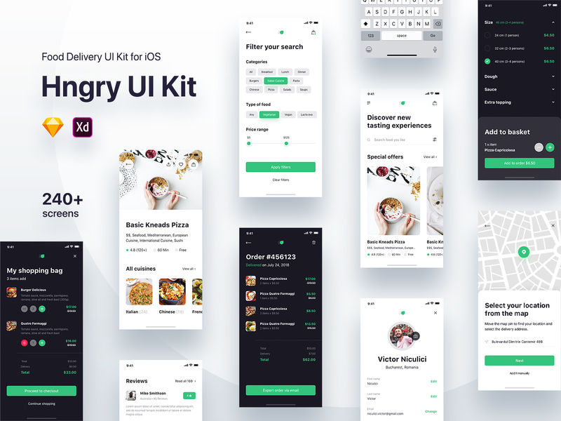Hngry Food Delivery UI Kit
