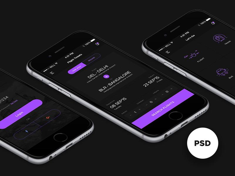 Let's Go Travel App - Free PSD