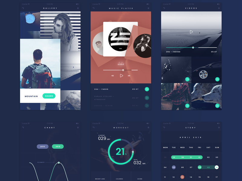 FADE App UI Kit [PSD] preview picture