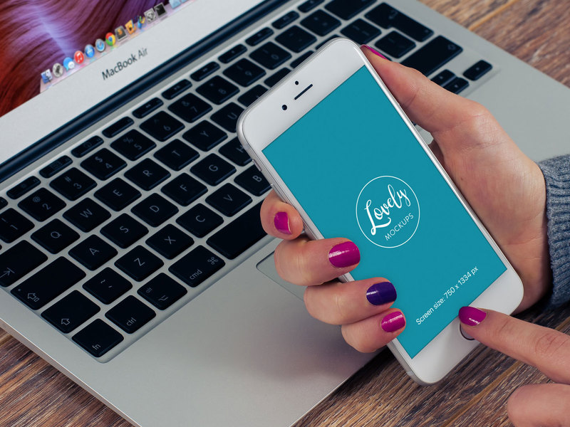 Mockup template: Woman With iPhone