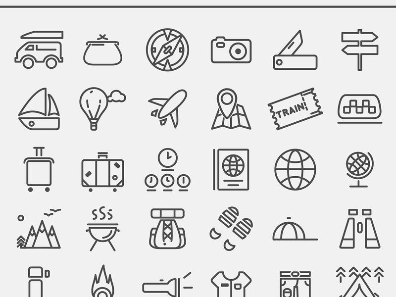 Free Travelling icon set [AI]