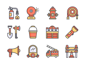Fire Fighting Icon Set