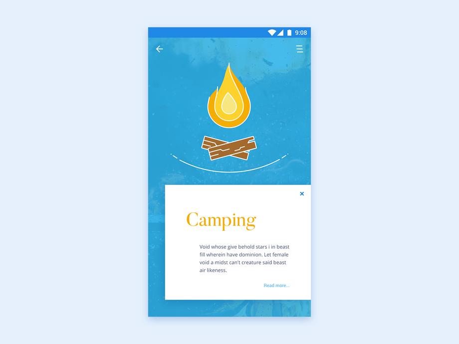 Camping Illustration App UI