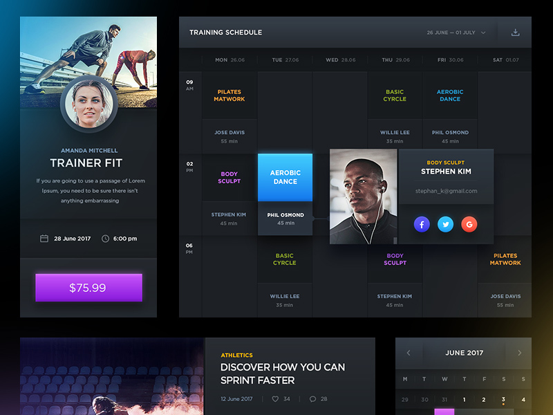 Dark Sports UI - Free PSD preview picture