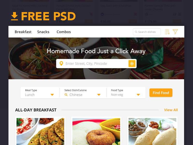 Food App Landing page preview picture