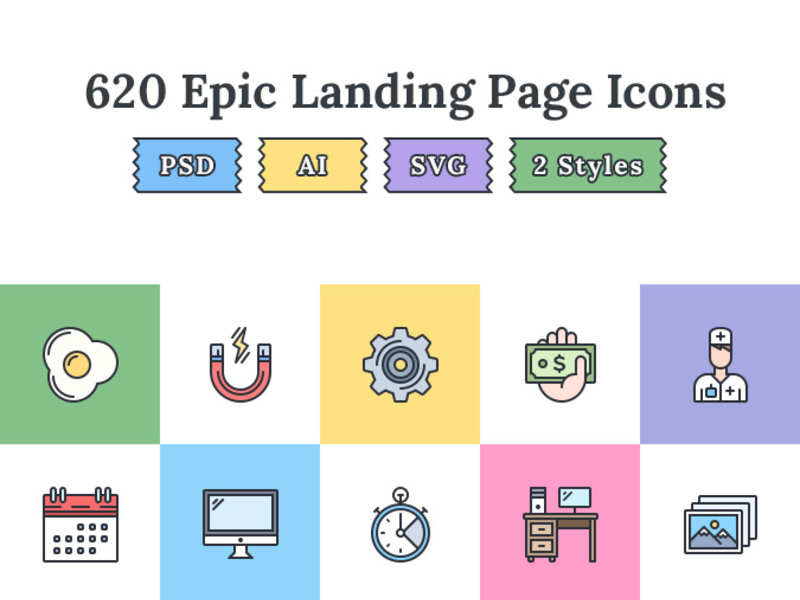 620+ Flat landing page icons preview picture