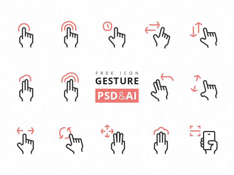Gesture Icons [AI, PNG, PSD] preview picture