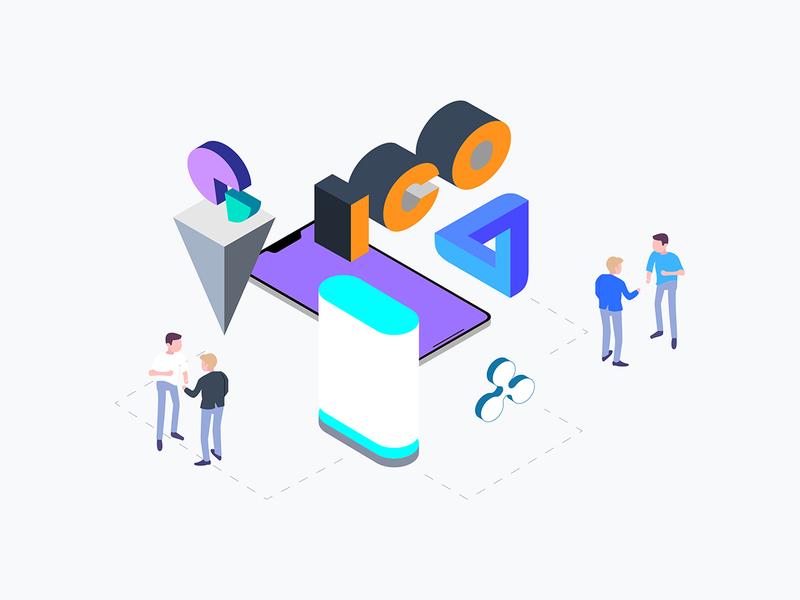 ICO Concept Isometric Graphic