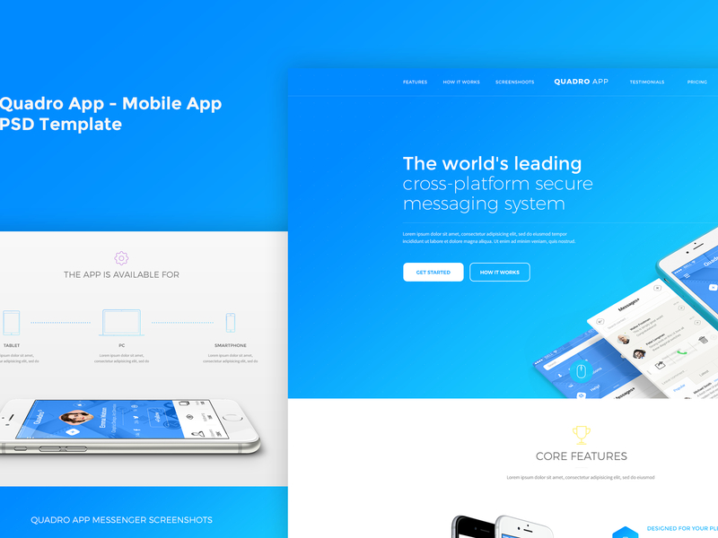 Quadro App - Mobile App PSD Template preview picture