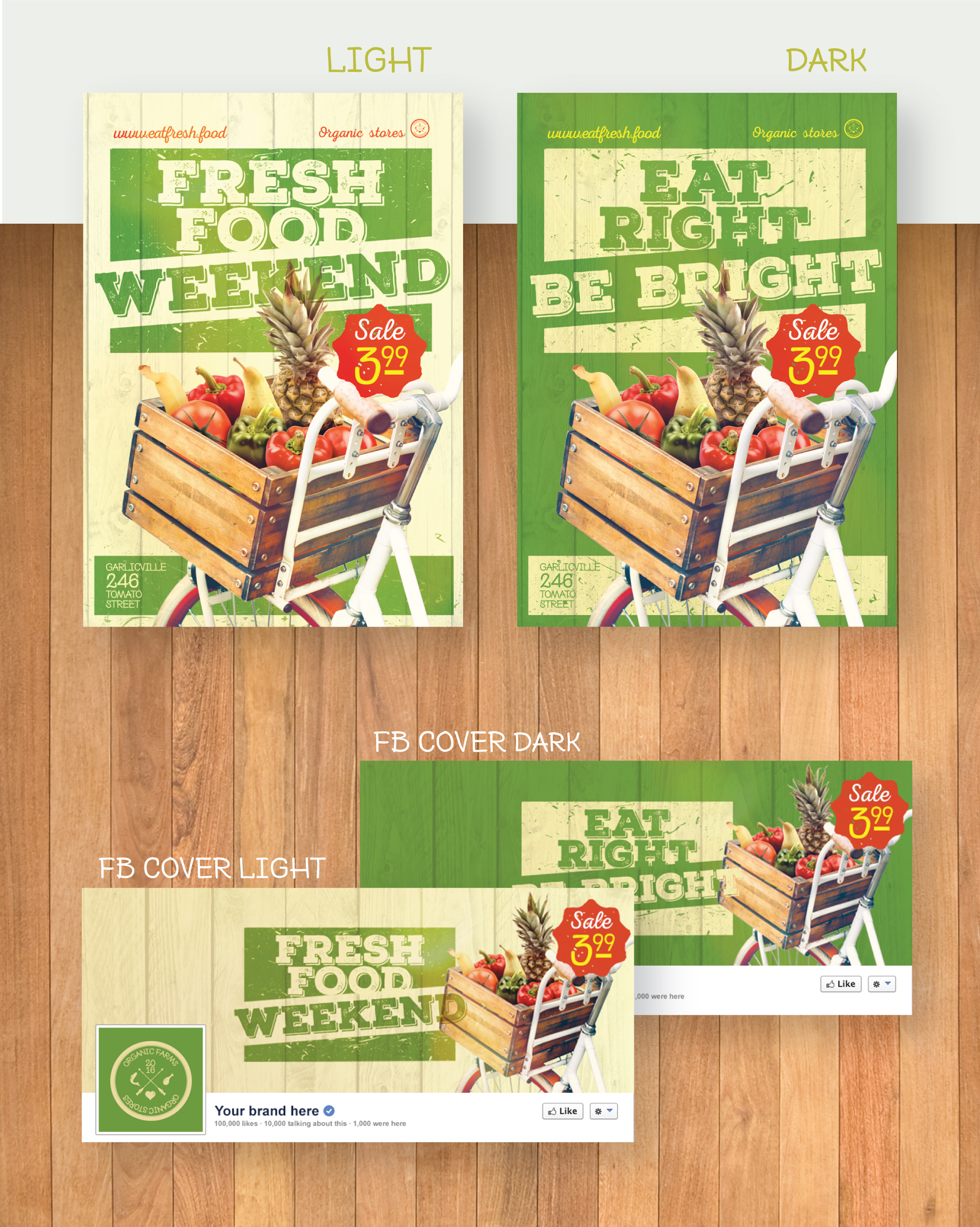 Organic Food Poster/Flyer - Bicycle with vegetables